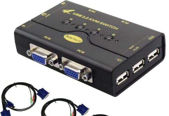 JideTech 4 Port VGA KVM Switch
