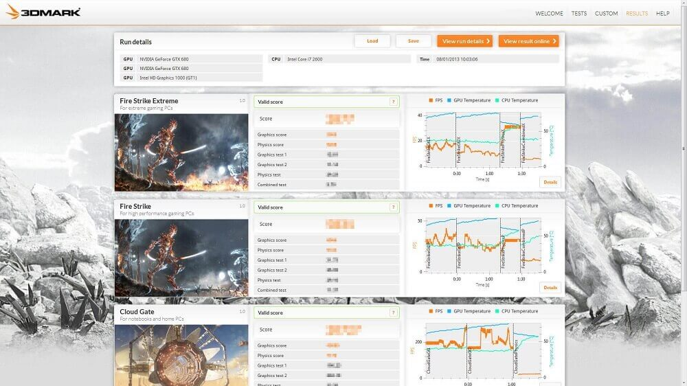 3DMark software benchmark